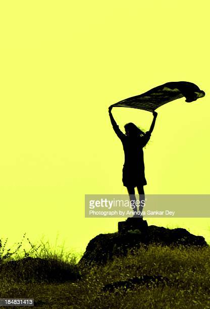 standing on the edge flying-silhouette composition - dupatta stock pictures, royalty-free photos & images