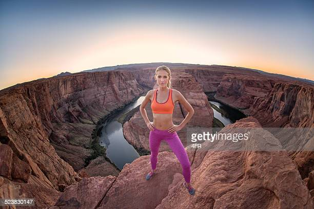 standing on the edge - horseshoe bend - lake powell stock pictures, royalty-free photos & images