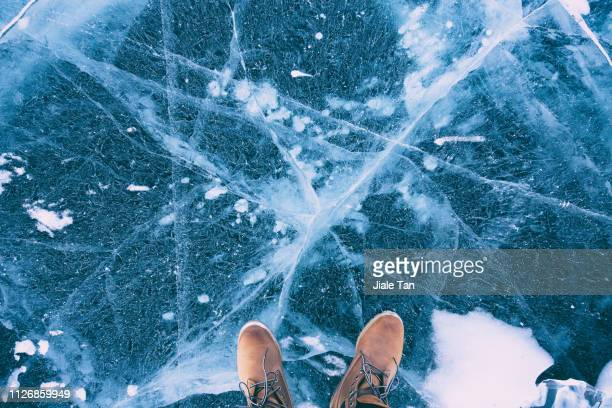 Standing on the surface of a ice lake, China.