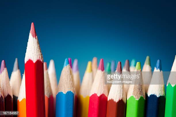 standing out from the crowd - color pencil stock pictures, royalty-free photos & images