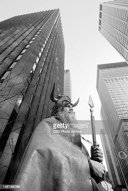Standing outside CBS headquarters at the southeast corner of West 53rd Street and 6th Avenue, New York, NY on April 21, 1972.