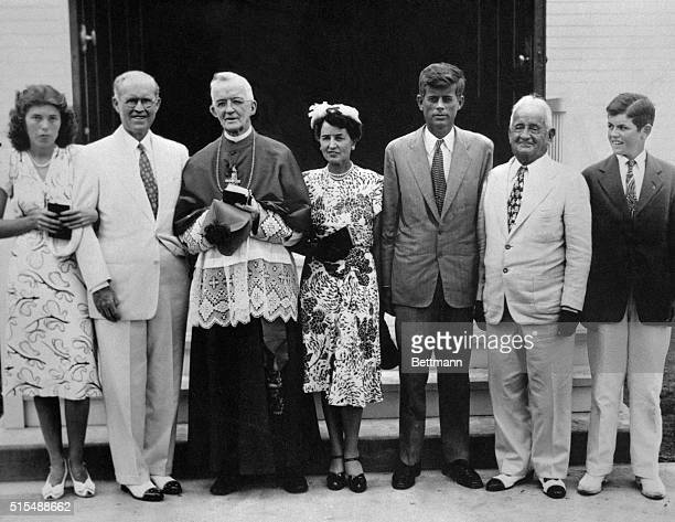 Standing outside St Francis Xavier Church after dedicating its new alter are Eunice Kennedy Joseph P Kennedy Bishop James E Cassidy of Fall River Mrs...