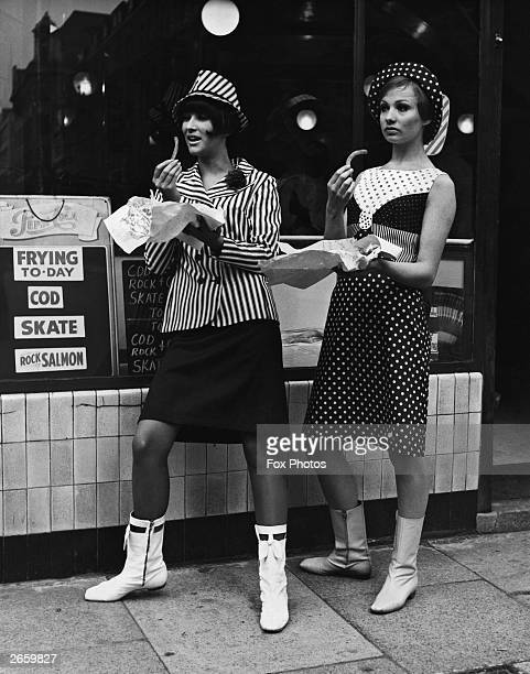 Standing outside the fish and chip shop in two items from the Lee Cecil 'Jetsetters' collection are Jackie Bowyer, left, and Judy Gomm, right.