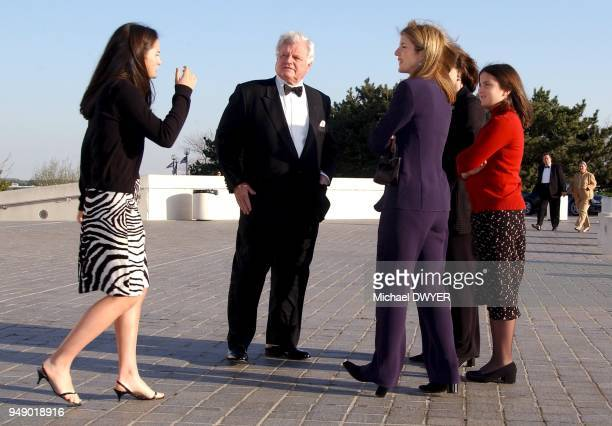 Standing outside the John F Kennedy Library in Boston from left Rose Schlossberg Ted Kennedy Caroline Kennedy Schlossberg and Tatiana Schlossberg