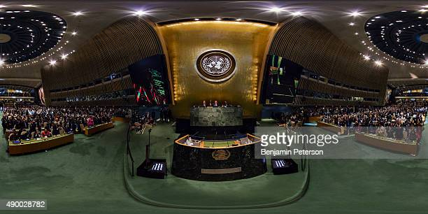 Standing ovation takes place during the gavel opening of the General Assembly and UN Sustainable Development Summit at the United Nations on...