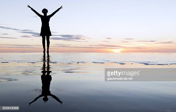 Standing silhouette on the beach