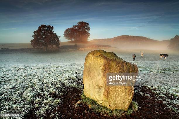 Standing stone on frosty field