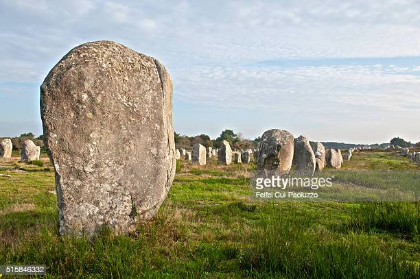 Standing stones at Carnac of Brittany region in France