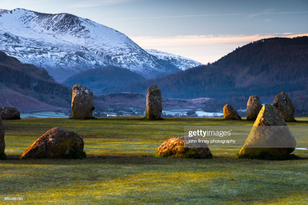 Standing stones from Castlerigg stone circle. Lake District National park. UK. : Stock Photo