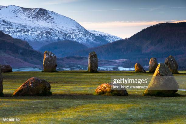 standing stones from castlerigg stone circle. lake district national park. uk. - keswick stock photos and pictures