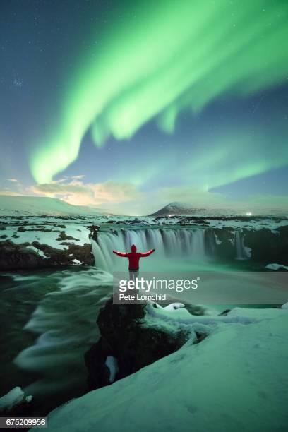 Standing the Aurora Godafoss