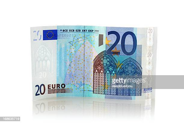standing twenty euro euro banknote with reflection - twenty euro banknote stock photos and pictures