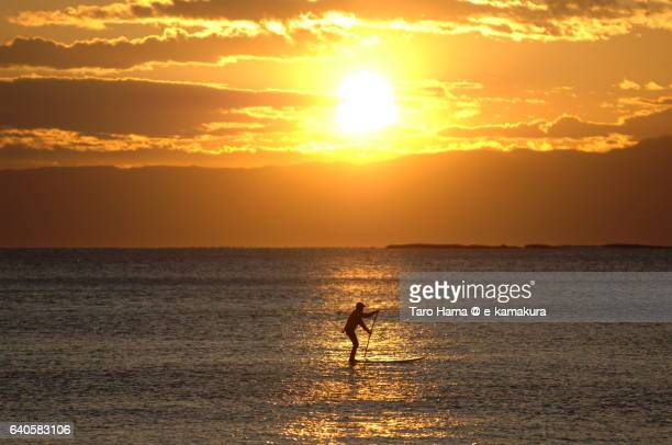 Standing up paddle surfing on the sunset beach
