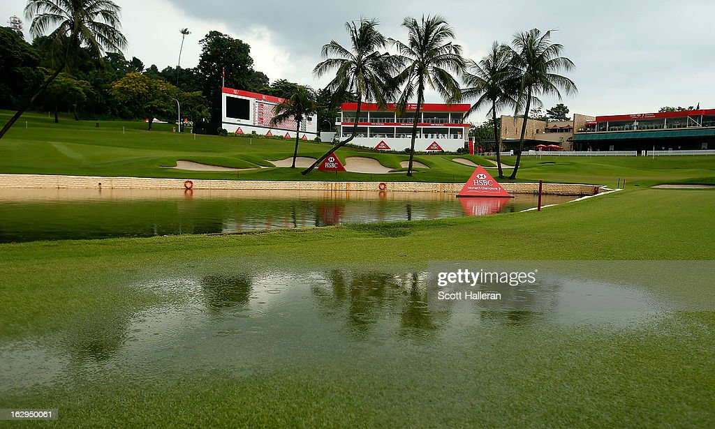 Standing water is seen on the 18th fairway after play was suspended due to dangerous weather during the third round of the HSBC Women's Champions at the Sentosa Golf Club on March 2, 2013 in Singapore, Singapore.