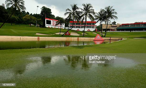 Standing water is seen on the 18th fairway after play was suspended due to dangerous weather during the third round of the HSBC Women's Champions at...