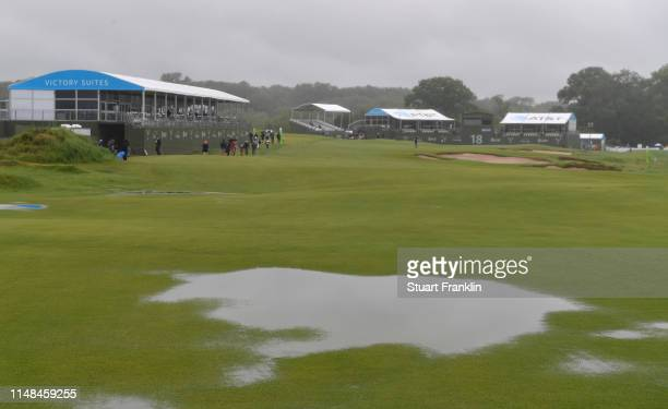 Standing water is seen on the 18th fairway prior to the delayed third round of the ATT Byron Nelson at the Trinity Forest Golf Club on May 11 2019 in...