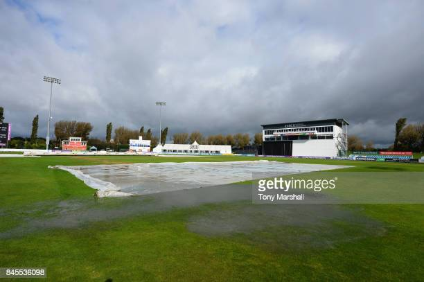 Standing water on outfield of The 3aaa County Ground during the ECB National Club T20 Finals at The 3aaa County Ground on September 11 2017 in Derby...