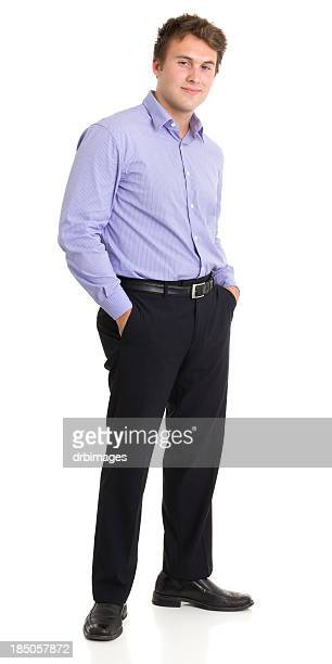 standing young man posing - long sleeved stock photos and pictures