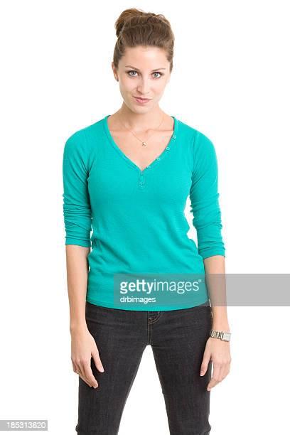 pie joven mujer retrato de tres cuartos - rolled up sleeves fotografías e imágenes de stock
