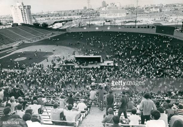 JUN 28 1969 JUN 29 1969 JUN 25 1989 stands to the infield to escape tear gas Some of the gate crashers who made their way inside were bombarding...