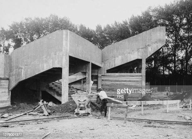 Stands under construction at the Stade Olympique Yves-du-Manoir , in Colombes, a suburb of Paris, France, circa 1915. The stadium is being...