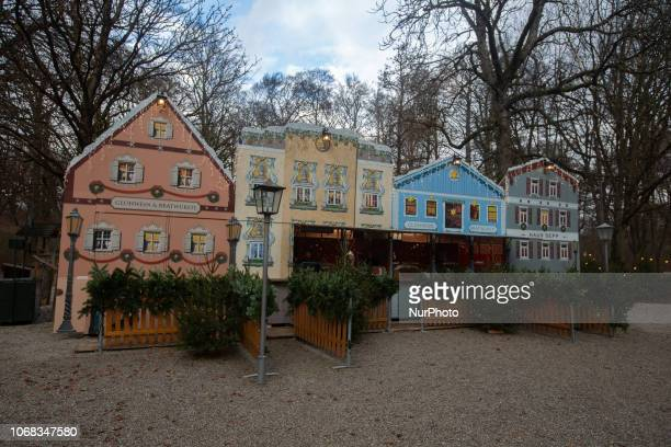 Stands where to buy mulled whine and something to eat The Christmas Market at the Chinesischer Turm in the Englischer Garten is opened until the 24th...