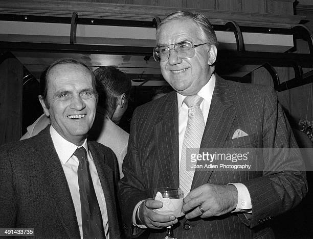 Standup comedian and actor Bob Newhart with comedian game show host Ed McMahon attending Rowan Martin's Laugh In cast reunion in 1983 in Los Angeles...