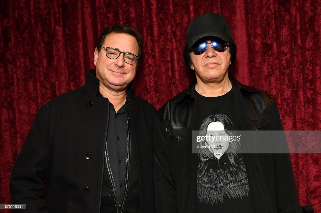 Stand-up comedian Bob Saget (L) and musician Gene Simmons visit SiriusXM Studios on November 16, 2017 in New York City.