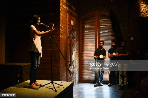 Standup comedy performance at Irish house during Kala Ghoda Art Festival 2018 on February 7 2018 in Mumbai India The art extravaganza explodes with a...