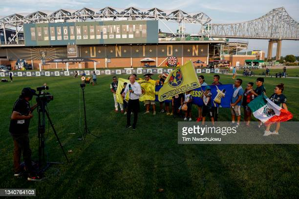Standup interview for TUDN takes place before the semifinal second leg match of the CONCACAF Champions League 2021 at Subaru Park on September 15,...