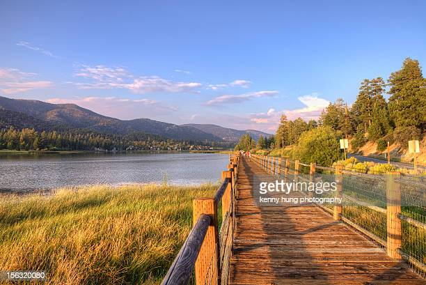 stanfield marsh boardwalks - big bear lake stock pictures, royalty-free photos & images