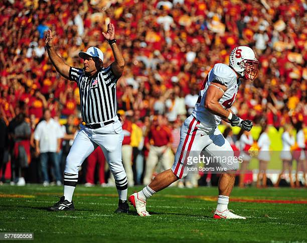Stanford 42 Will Powers celebrates during a college football game between the Stanford Trees and the USC Trojans played at the Los Angeles Memorial...