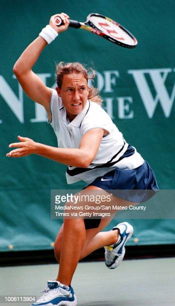 Anne Kremer whips a forehand to opponent Mary Pierce during her first round victory on her home court at Stanford University in the Bank of the West...