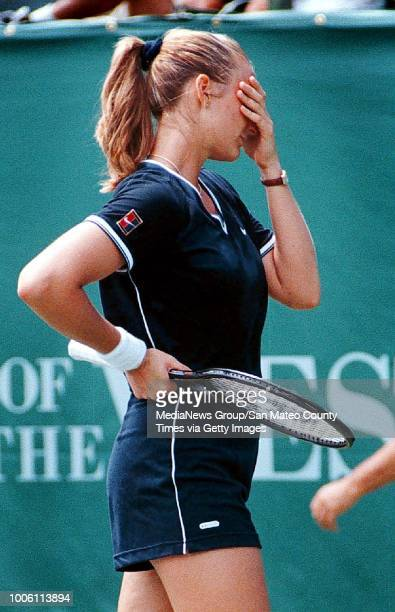 Mary Pierce can't believe her game is selfdestructing during her firstround upset loss to Stanford's Anne Kremer Wednesday afternoon in Palo Alto in...