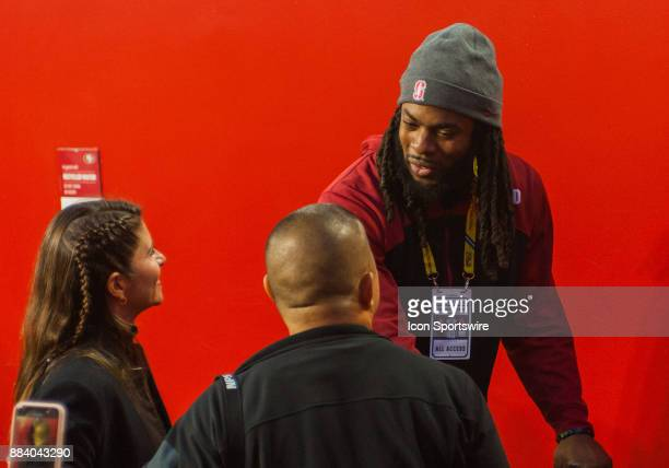 Stanford Cardinal and current Seattle Seahawks player Richard Sherman is seen talking with some fans prior to the Pac12 Championship game between the...