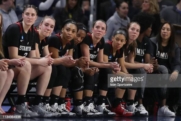 Stanford Cardinal bench look on in game action during the Women's NCAA Division I Championship Quarterfinals game between the Notre Dame Fighting...