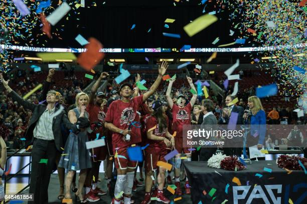 Stanford Cardinal celebrate after winning the women's Pac 12 college tournament championship game between the Oregon State Beavers and the Stanford...
