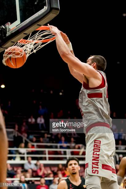 Stanford Cardinal center Josh Sharma dunks the ball during the men's college basketball game between the USC Trojans and Stanford Cardinal on...