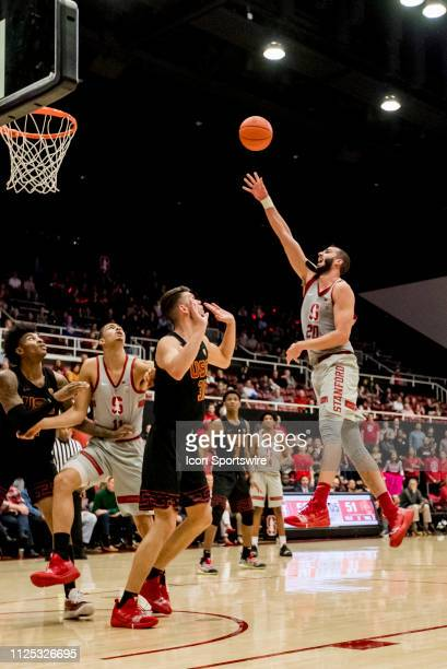 Stanford Cardinal center Josh Sharma goes up for the shot during the men's college basketball game between the USC Trojans and Stanford Cardinal on...
