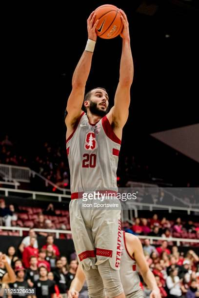Stanford Cardinal center Josh Sharma grabs the rebound during the men's college basketball game between the USC Trojans and Stanford Cardinal on...
