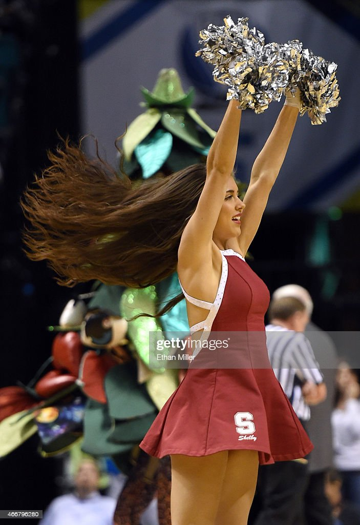 Stanford Cardinal Dollie Shelby Mynhier performs during a quarterfinal game of the Pac-12 Basketball Tournament against the Utah Utes at the MGM Grand Garden Arena on March 12, 2015 in Las Vegas, Nevada. Utah won 80-56.