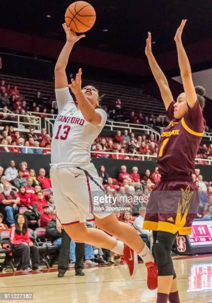 Stanford Cardinal forward Alanna Smith lays up the basket after a fast break during the game between the Arizona State Sun Devils and the Stanford...