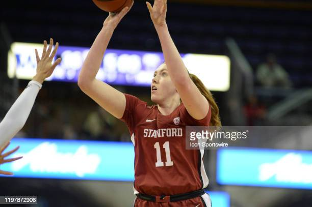 Stanford Cardinal forward Ashten Prechtel puts up a 3-point shot during a PAC12 conference game between the Stanford Cardinal and the Washington...