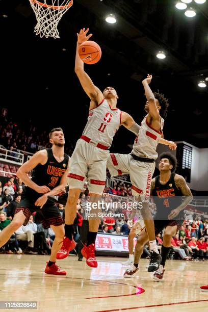 Stanford Cardinal forward Jaiden Delaire grabs a rebound during the men's college basketball game between the USC Trojans and Stanford Cardinal on...