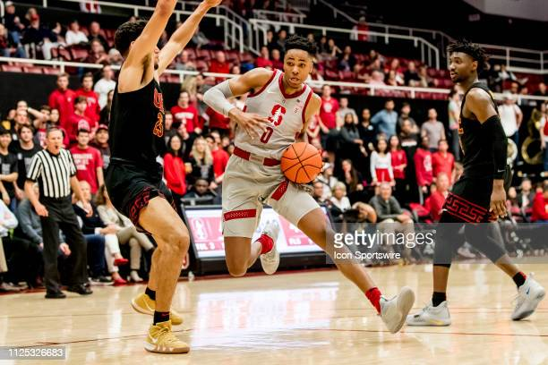 Stanford Cardinal forward KZ Okpala brings the ball down the court during the men's college basketball game between the USC Trojans and Stanford...