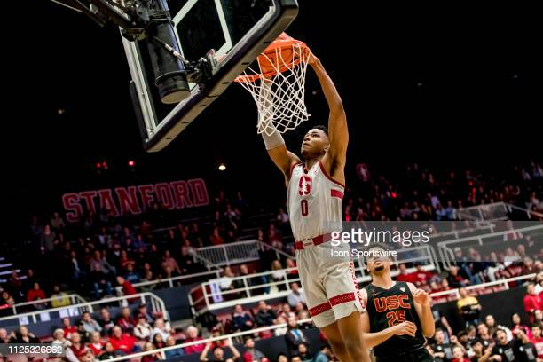 Stanford Cardinal forward KZ Okpala dunks the ball during the men's college basketball game between the USC Trojans and Stanford Cardinal on February...