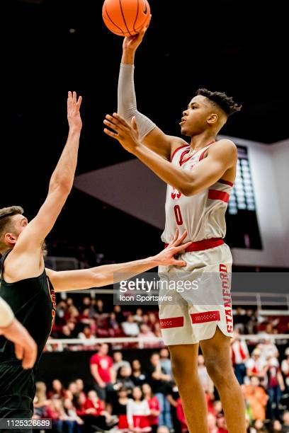 Stanford Cardinal forward KZ Okpala puts up a shot during the men's college basketball game between the USC Trojans and Stanford Cardinal on February...