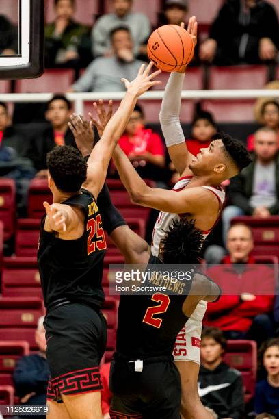 Stanford Cardinal forward KZ Okpala shoots over the USC defense during the men's college basketball game between the USC Trojans and Stanford...