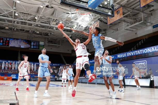 Stanford Cardinal forward Oscar da Silva takes a shot against North Carolina Tar Heels guard Caleb Love during the second half of the second round of...
