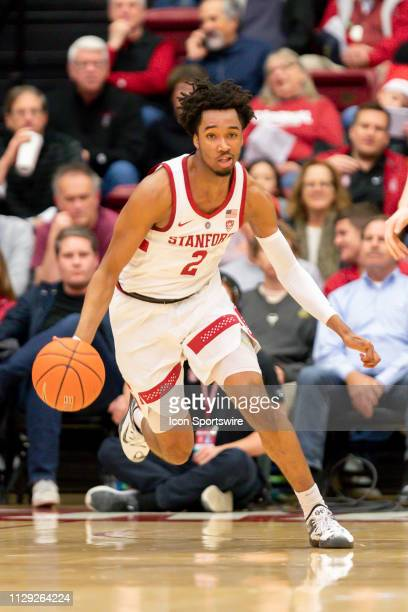 Stanford Cardinal guard Bryce Wills brings the ball down the court during the men's college basketball game between the California Golden Bears and...